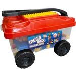 Carrinho Organizador Bell Toy Mega Box Multiblocos com Alça Flexível - 150 Blocos - Preto/vermelho/a