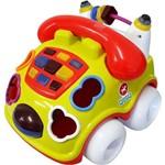 Carrinho Pedagógico Calesita Musical Falafone - 6 Acessórios - Amarelo/laranja/branco