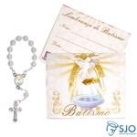 Cartão com Mini Terço de Batismo   SJO Artigos Religiosos