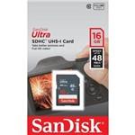 Cartão de Memória SDHC SanDisk Ultra 16 GB SDSDUNB-016G