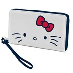 Carteira Feminina de Nylon com Zíper Classical Face Branca Hello Kitty - H40604