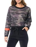 Casaco Moletom Calvin Klein Jeans Estampa Camuflado Preto - M