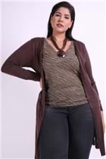 Casaco Tricot Alongado Plus Size Marrom P
