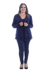 Casaco Tricot Plus Size Kardelen Aran Angorá Azul Marinho G1-Azul Marinho