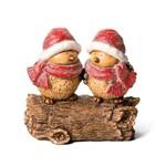 Casal de Pássaros em Tronco Decoração Natal 33cm Amarelo