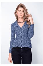 Casaqueto Trico Frise Azul Jeans