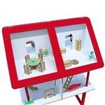 Casinha Infantil Vermelha com Móveis 42 Itens em Mdf 1150 - Carlu