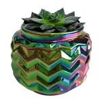 Castiçal de Cerâmica Colorido Rainbow Waves Urban