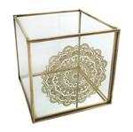 Castiçal de Vidro Dourado Mandala Urban