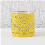Castiçal Porta Vela Vidro e Metal Floral Amarelo