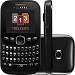 Celular Alcatel OT3000 Desbloqueado Preto Tri Chip, QWERTY, Quadriband, MP3 Player e Câmera VGA