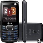 Celular LG A290 Preto Desbloqueado Tri Chip Câmera 1.3MP Memória Interna 4MB e Cartão de Memória 2GB