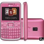 """Celular LG Tri Chip C333 Desbloqueado Oi Rosa GSM Tela 2.3"""" Teclado Qwerty Câmera de 3.2MP Wi Fi Memória Interna de 78.4MB Expansível Até 8GB + Cartão de 2GB"""