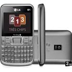 Celular Tri Chip LG C333 Desbloqueado Oi Prata Câmera de 3.2MP Wi Fi Memória Interna 78.4MB Cartão de 2GB