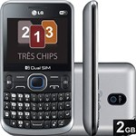 Celular Tri Chip LG Desbloqueado Preto Câmera 2MP 2G Wi Fi Memória Interna 1GB Cartão 2GB