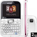 Celular Tri-Chip Motorola EX117 Motokey Desbloqueado Tim Rosa Câmera 2MP Cartão de Memória de 2 Gb