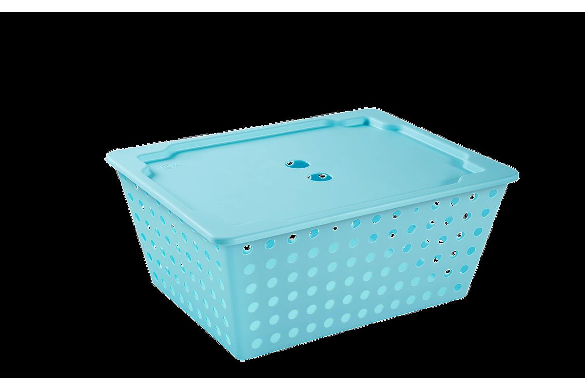 Cesta Maxi com Tampa 39 X 30 X 16,8 Cm Azul Baby Coza