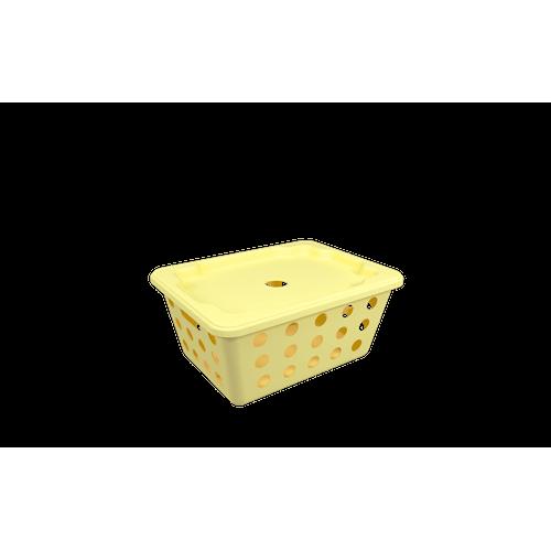 Cesta One Pequena com Tampa - AMS 18,6 X 14,2 X 8,6 Cm Amarelo Soft