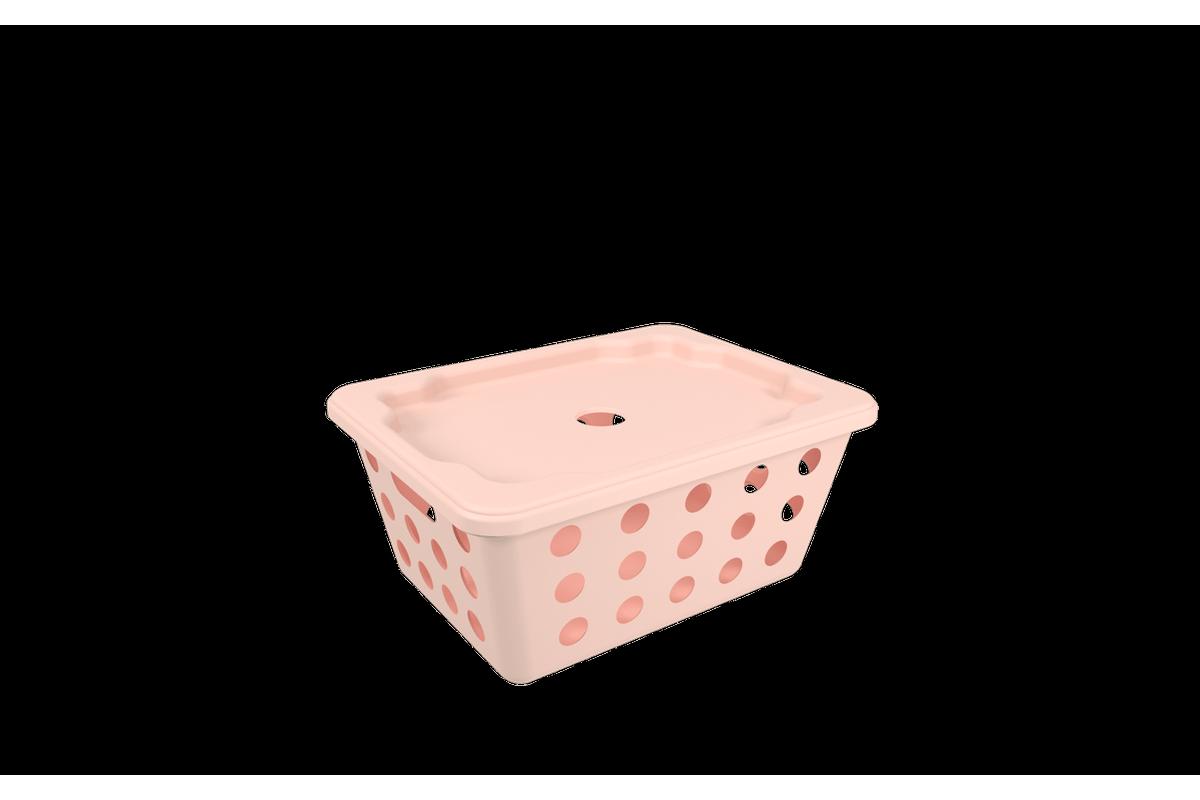 Cesta One Pequena com Tampa - RBL 18,6 X 14,2 X 8,6 Cm Rosa Blush Coza