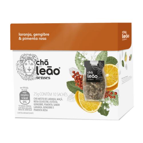 Chá Leão Senses Laranja, Pimenta Rosa e Gengibre 10 Sachês