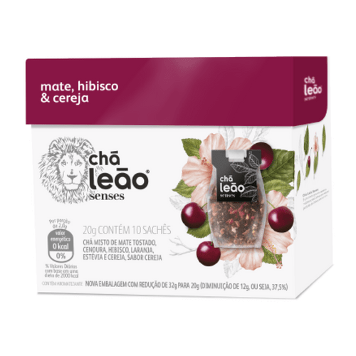 Chá Leão Senses Mate, Hibisco e Cereja 10 Sachês