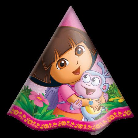Chapéu de Aniversário Dora Aventureira - 08 Unidades