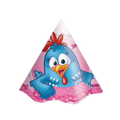 Chapéu de Aniversário Galinha Pintadinha Rosa 8 Unidades - Festcolor 70857