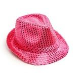 Chapéu Panamá com Luz Led Carnaval Fantasia Rosa Pink