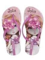 Chinelo Infantil Jolie para Menina - Branco/lilás