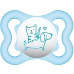 Chupeta Air Boys Branca e Azul Gato/cachorro (0-6m) Mam 2465