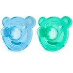 Chupeta de Silicone para Recém Nascidos - 0 a 3 Meses - Pack com 2 Un - Azul e Verde - Philips Avent