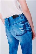 Cigarrete Jeans Cintura Alta Marmorizada