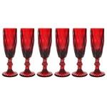 Cj de 6 Taças para Champanhe Bico de Abacaxi - Vermelho - Incasa