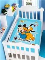 Cobertor Disney Jolitex Infantil para Bebê - Azul Marinho/bege