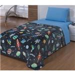 Cobertor Flannel Solteiro Discovery Space Chumbo - 1 Peça