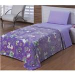 Cobertor Flannel Solteiro Rainbow Unicónio Azul - 1 Peça