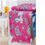 Cobertor Flannel Solteiro Rainbow Unicónio Pink - 1 Peça