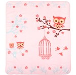 Cobertor Fleece Microfibra 90 Cm X 1,10 M Corujinha Rosa