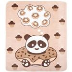 Cobertor Fleece Microfibra 90 Cm X 1,10 M Panda Bege