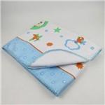 Cobertor Masculino Antialérgico Branco e Azul Claro Estampado Aviador
