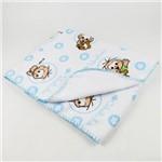 Cobertor Masculino Flanelado Branco e Azul Claro Cebolinha e Cascão Baby