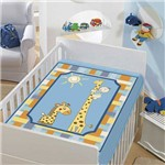 Cobertor Menino Baby Jolitex Tradicional Girafinhas Azul