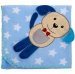 Cobertor para Berço Bordado 100% Algodão - Cachorrinho Estrela Azul