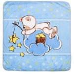 Cobertor para Berço Masculino Ursinho Estrelas Azul