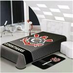 Cobertor Stadium Corinthians 150x220cm Preto/cinza/vermelho - Jolitex