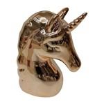 Cofrinho Decorativo em Cerâmica Unicorn Head Dourado Urban
