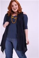 Colete Alongado Tricot Plus Size Azul Marinho M