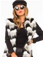 Colete Feminino de Pelos e Tricô Faux Fur CT0079 - Kam Bess