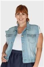 Colete Jeans Médio Plus Size AZUL CLARO-46