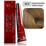 Coloração Forever Colors - Cinza 9-1 Louro Muito Claro Cinza.